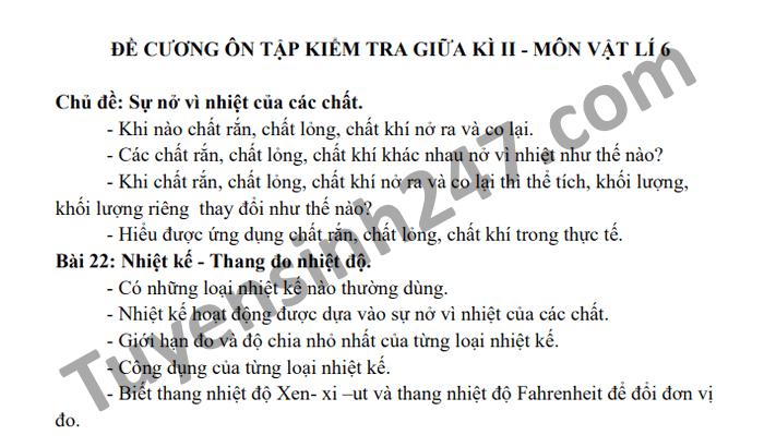 De cuong on tap giua hoc ki 2 Ly lop 6 THCS Thuong Phuoc 1 2021