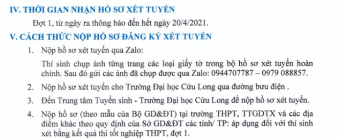 Thong tin tuyen sinh Dai hoc Cuu Long nam 2021