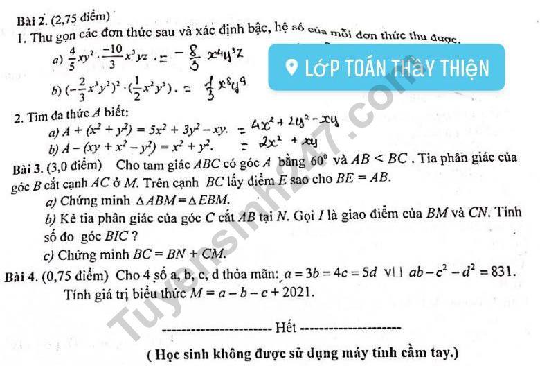 De thi giua ki 2 lop 7 mon Toan 2021 - Xuan Truong