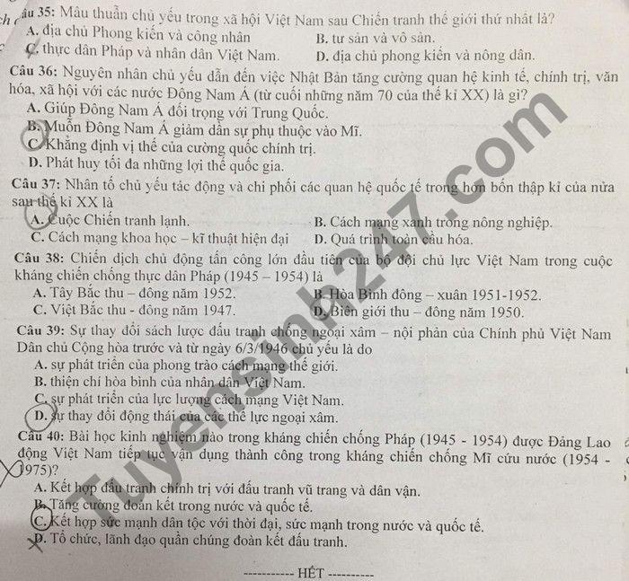 De thi thu tot nghiep THPT 2021 lan 2 mon Su THPT Chuyen Lam Son