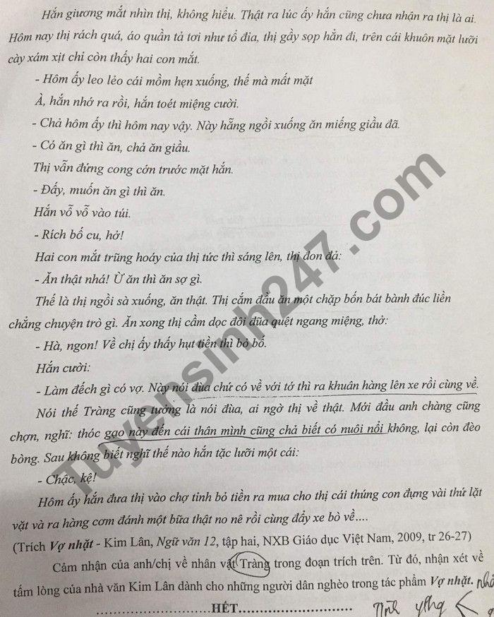 De KSCL thi tot nghiep THPT mon Van 2021 lan 2 - THPT Chuyen Lam Son
