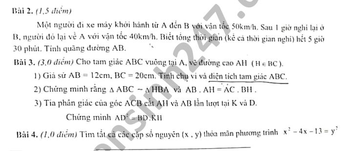 De thi giua hoc ki 2 huyen Y Yen mon Toan lop 8 nam 2021