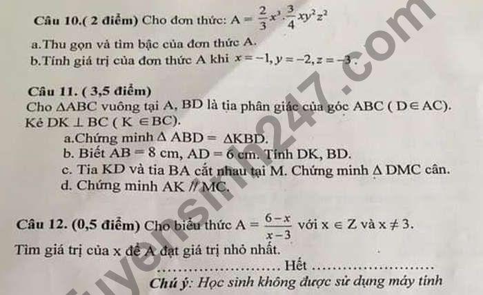 De thi giua hoc ki 2 lop 7 mon Toan nam 2021 - THCS Chu Van An