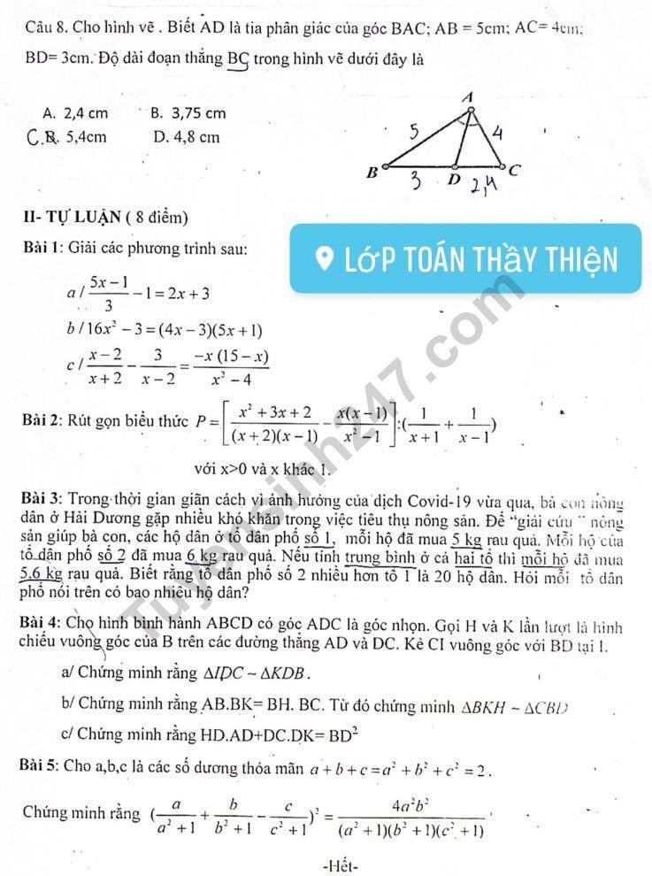 De thi giua ki 2 lop 8 mon Toan 2021 - THCS Han Thuyen