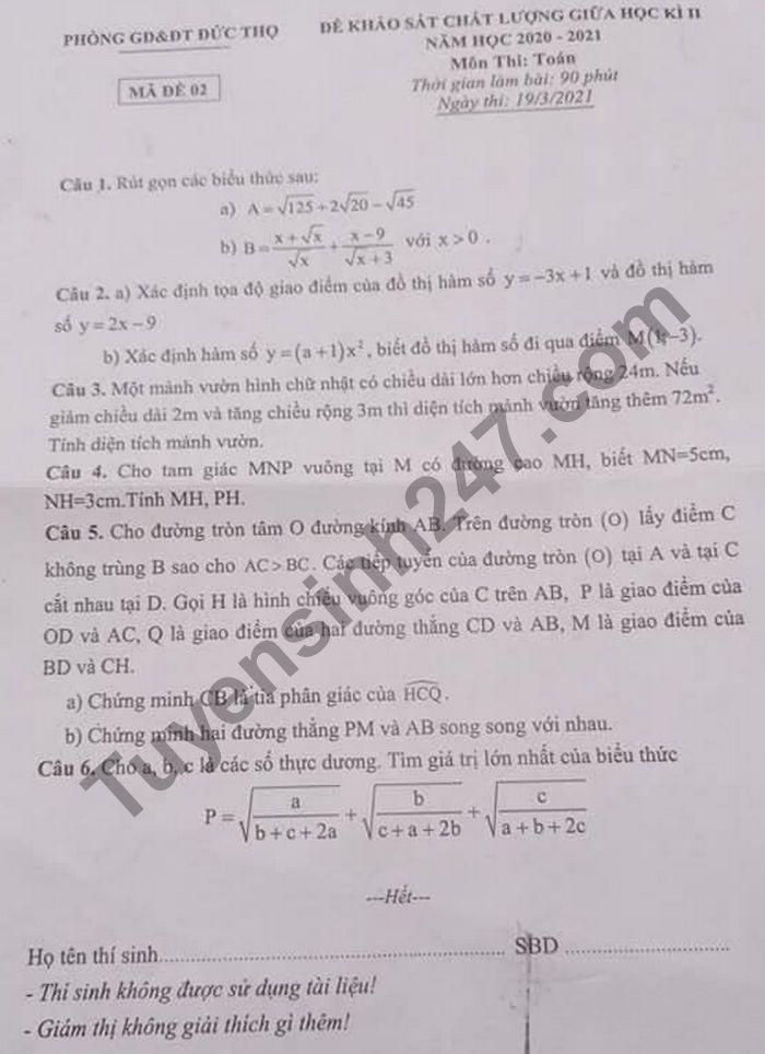 De thi giua hoc ki 2 lop 9 mon Toan nam 2021 - Phong GD Duc Tho