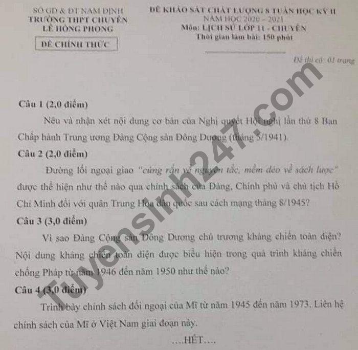 De thi giua ki 2 lop 11 mon Su nam 2021 THPT Chuyen Le Hong Phong