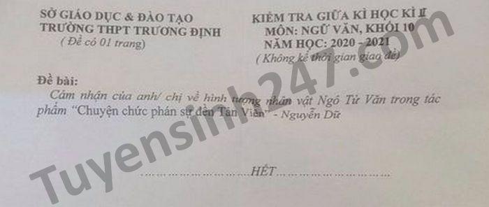 De thi giua ki 2 mon Van lop 10 THPT Truong Dinh nam 2021
