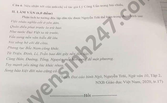 De kiem tra giua ki 2 mon Van lop 10 THPT Nguyen Du nam 2021