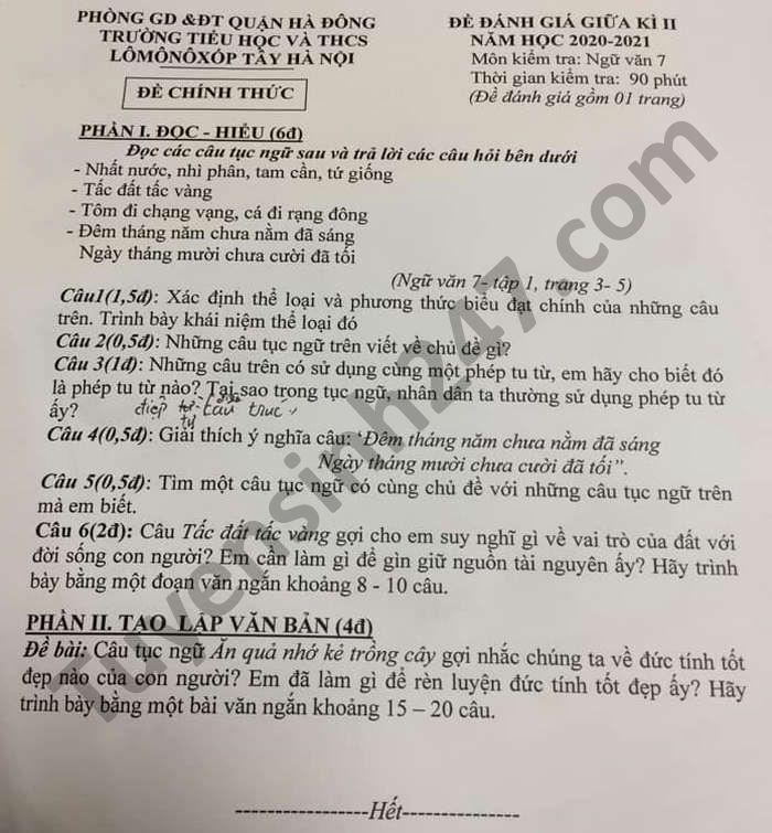 De thi giua ki 2 TH-THCS Lomonoxop Tay Ha Noi mon Van lop 7