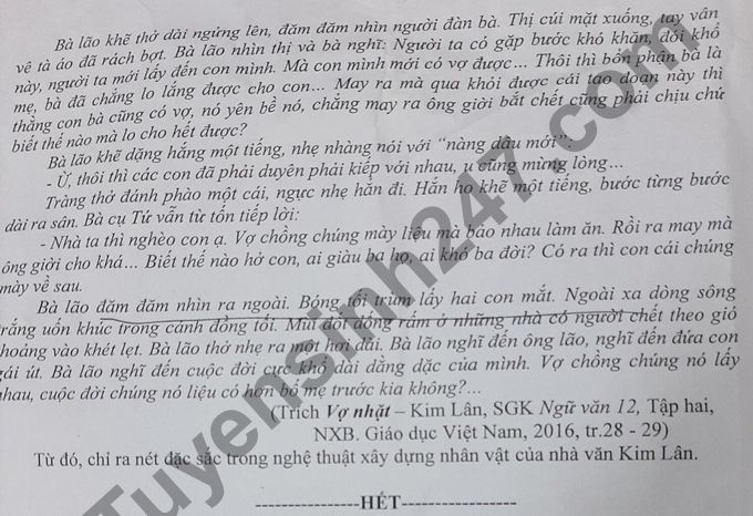 De KSCL thi tot nghiep THPT 2021 lan 1 mon Van - THPT Chuyen DH Vinh