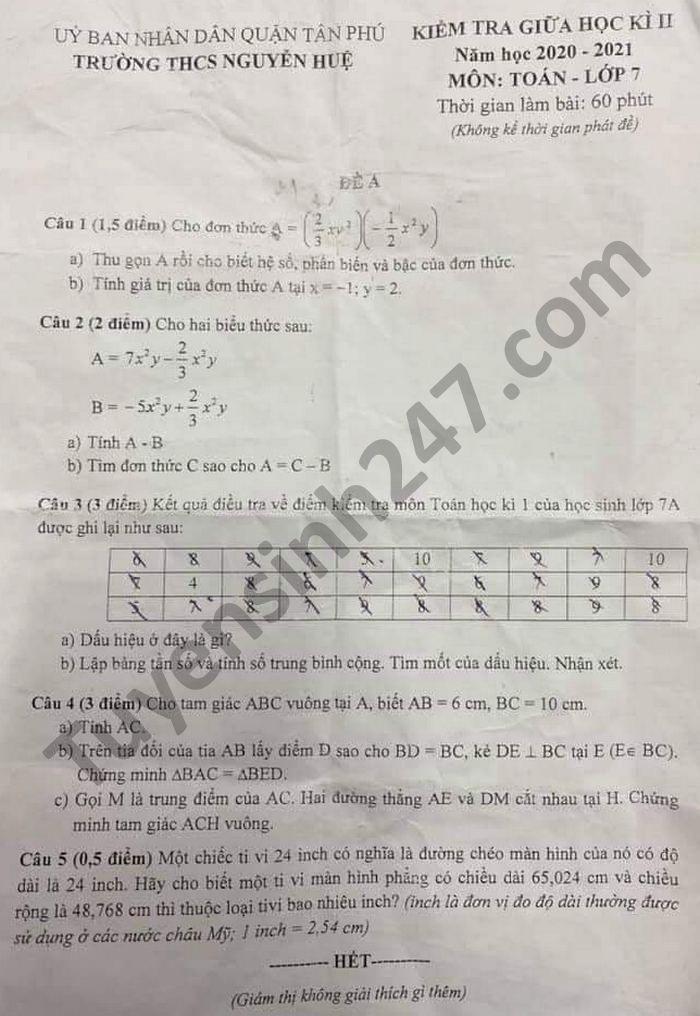 De thi giua hoc ki 2 lop 7 THCS Nguyen Hue mon Toan nam 2021