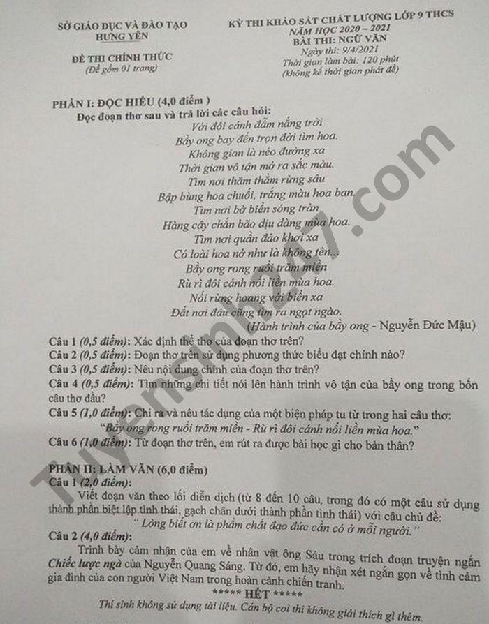 De thi khao sat chat luong lop 9 THCS mon Van tinh Hung Yen 2021