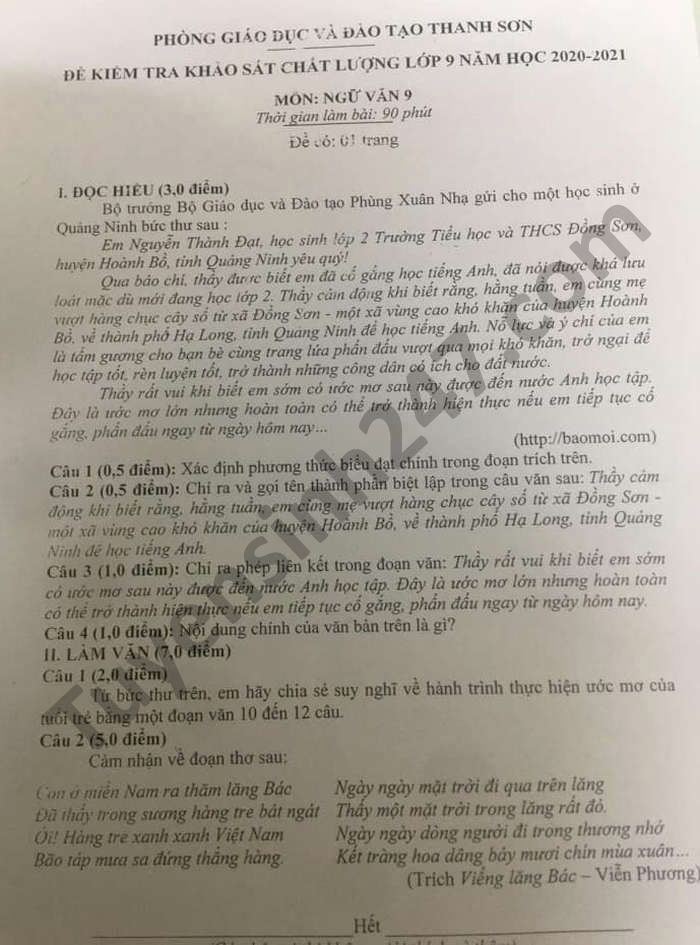 De khao sat chat luong lop 9 mon Van huyen Thanh Son nam 2021