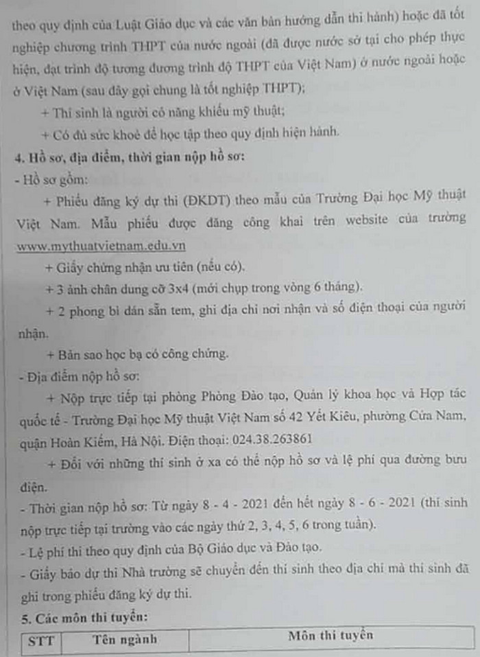 Thong tin tuyen sinh Dai hoc My thuat Viet Nam 2021