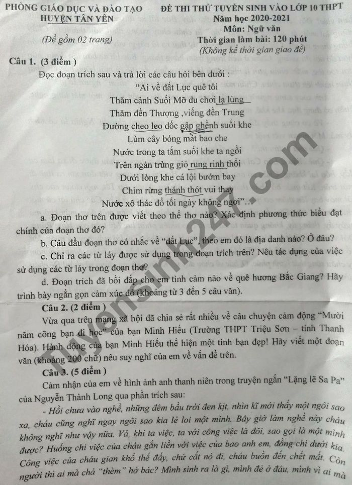 De thi thu vao lop 10 mon Van nam 2021 - Huyen Tan Yen