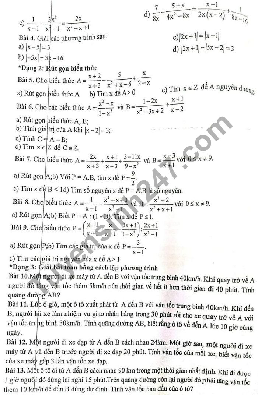 De cuong hoc ki 2 mon Toan lop 8 - THCS My Dinh 1 nam 2021