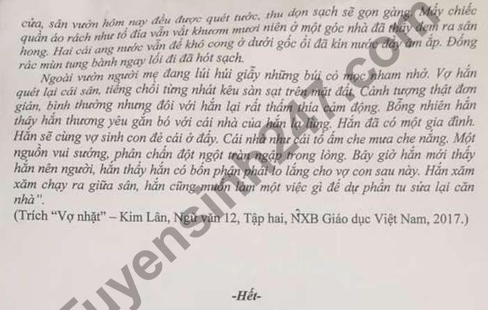 De thi thu tot nghiep THPT 2021 lan 2 mon Van - THPT Hai An