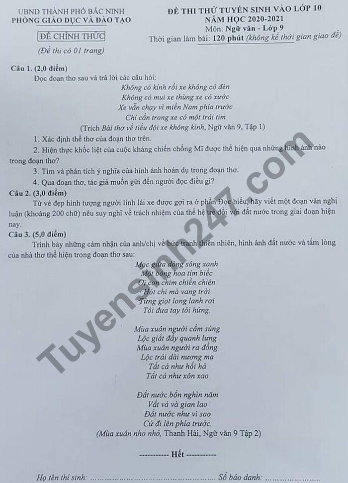 De thi thu vao lop 10 mon Van - TP Bac Ninh 2021