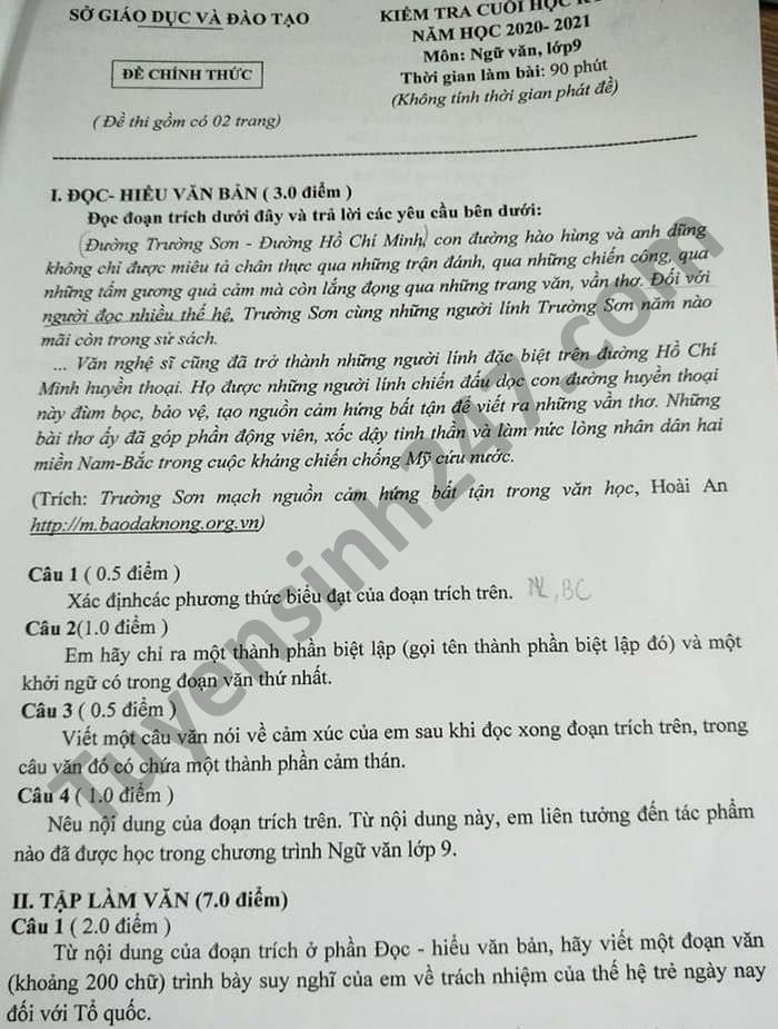 De thi hoc ki 2 nam 2021 mon Van lop 9 tinh Binh Duong