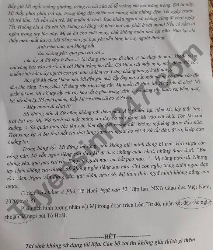 De thi thu tot nghiep THPT 2021 mon Van - So GD Lao Cai