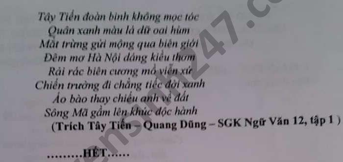 De thi thu tot nghiep THPT 2021 lan 2 THPT Quang Trung mon Van