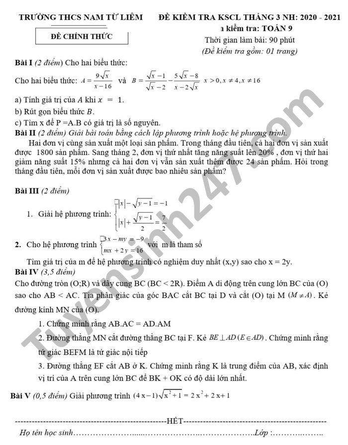 De KSCL thang 3 nam 2021 mon Toan lop 9 THCS Nam Tu Liem