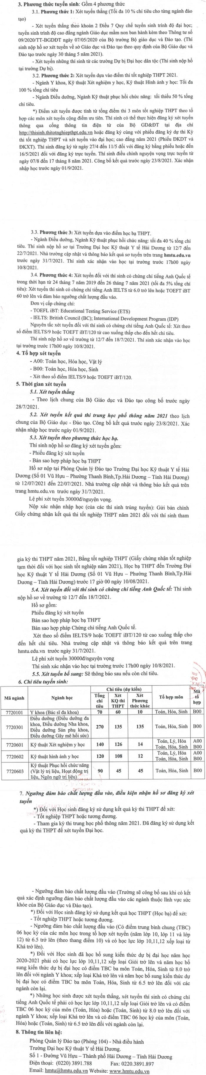 Phuong an tuyen sinh DH Ky thuat Y te Hai Duong nam 2021