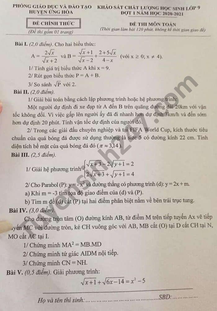 De khao sat chat luong lop 9 mon Toan 2021 huyen Ung Hoa dot 1