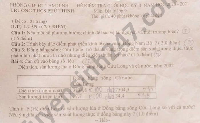 De thi hoc ki 2 mon Dia lop 9 THCS Phu Thinh nam 2021