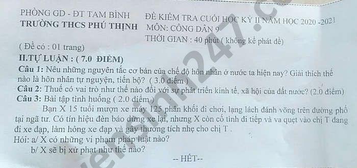 De thi hoc ki 2 mon GDCD lop 9 nam 2021 THCS Phu Thinh