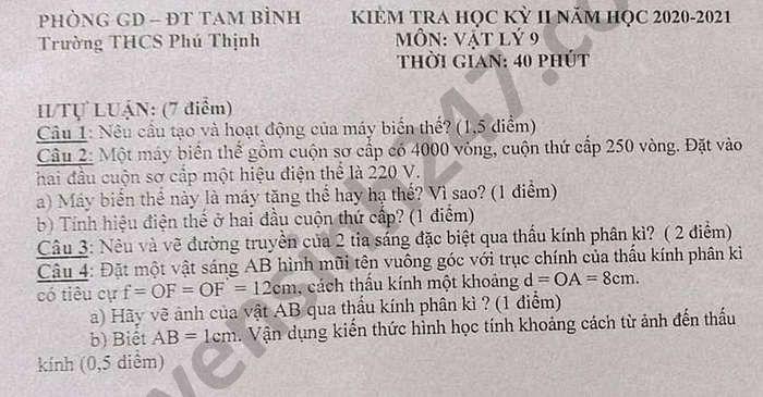 De thi hoc ki 2 mon Ly lop 9 THCS Phu Thinh nam 2021