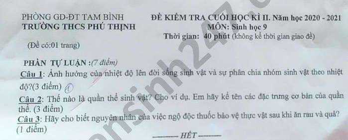De thi hoc ki 2 nam 2021 mon Sinh lop 9 THCS Phu Thinh