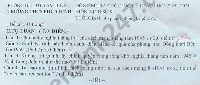 De thi hoc ki 2 mon Su lop 9 THCS Phu Thinh nam 2021