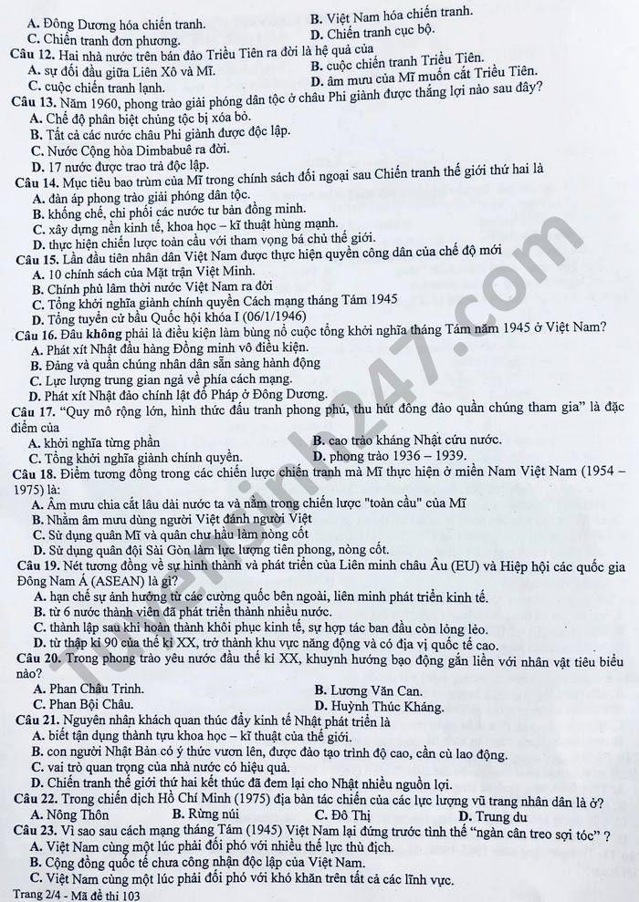 De khao sat chat luong lop 12 mon Su tinh Thanh Hoa nam 2021-co dap an