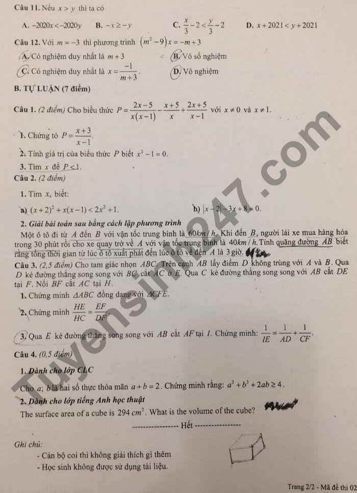 De thi hoc ki 2 lop 8 mon Toan - THCS&THPT Nguyen Tat Thanh 2021