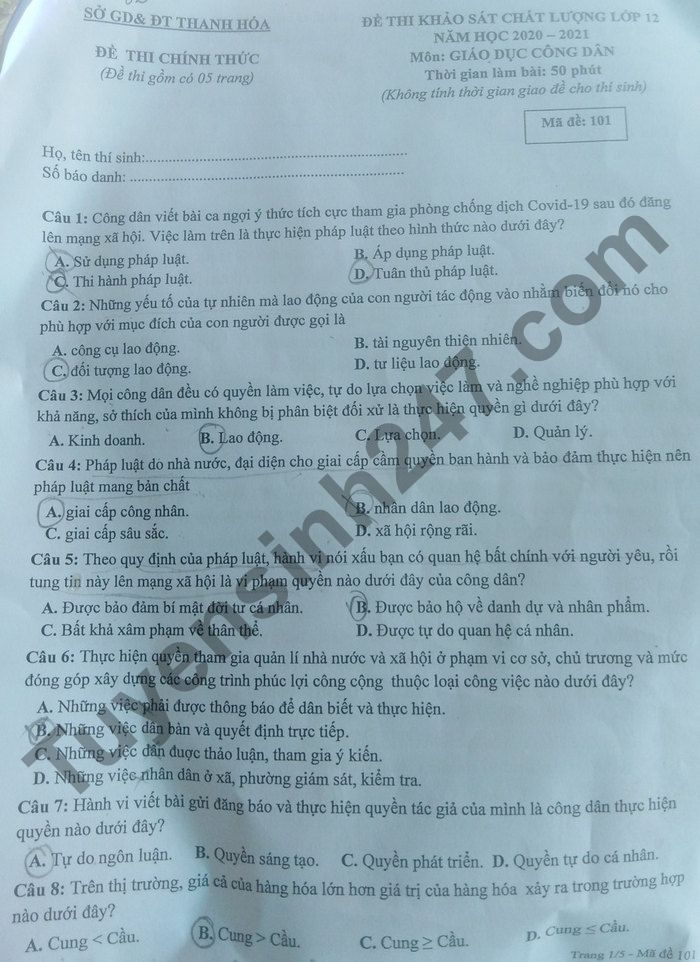 De thi KSCL lop 12 mon GDCD So GD Thanh Hoa 2021-co dap an