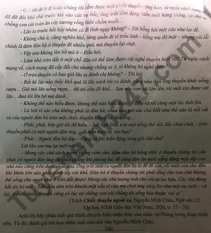 De KSCL thi tot nghiep THPT mon Van 2021 - THPT Chuyen DH Vinh lan 2