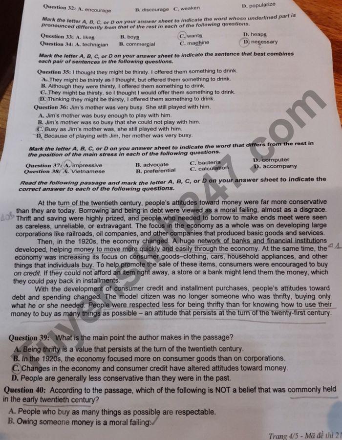 De KSCL thi tot nghiep THPT 2021 mon Anh - THPT Chuyen DH Vinh lan 2