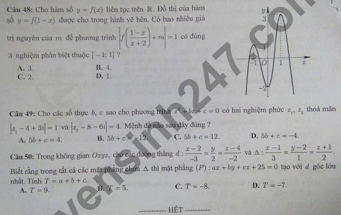 De KSCL thi tot nghiep THPT 2021 lan 2 mon Toan - THPT Chuyen Dai hoc Vinh