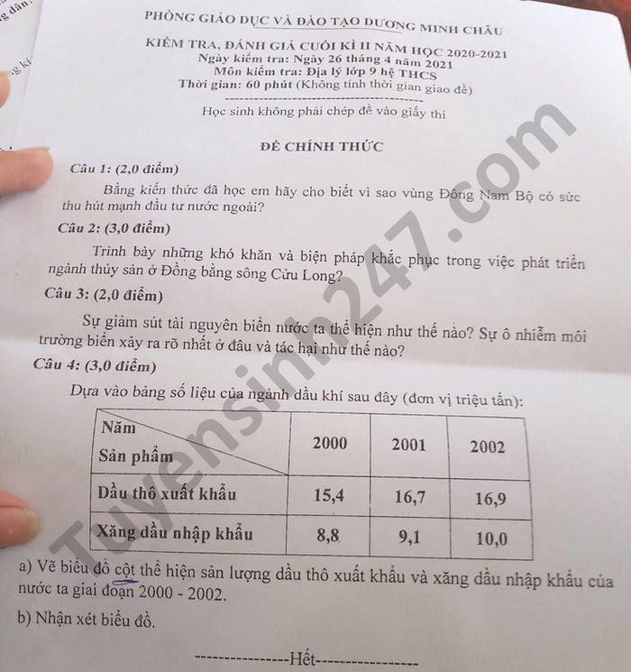 De thi hoc ki 2 mon Dia lop 9 Phong GD Duong Minh Chau nam 2021