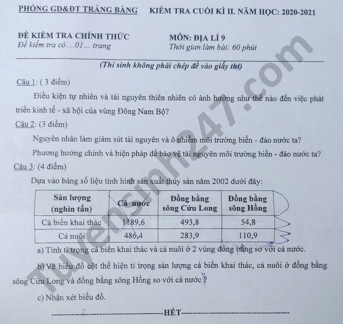 De thi hoc ki 2 Phong GD Trang Bang nam 2021 mon Dia lop 9