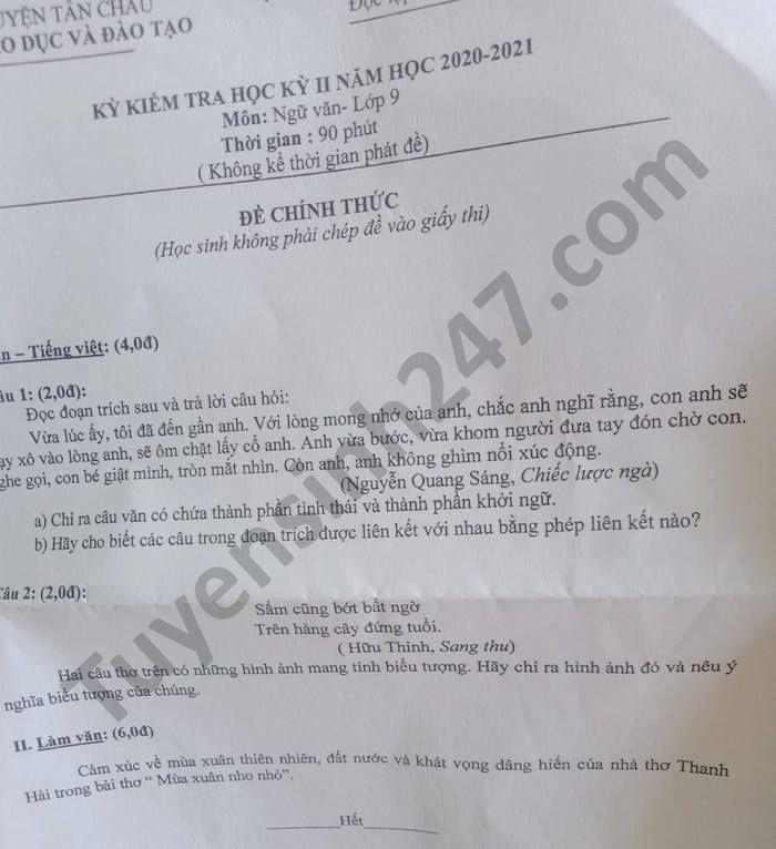 De thi hoc ki 2 mon Van lop 9 Huyen Tan Chau nam 2021