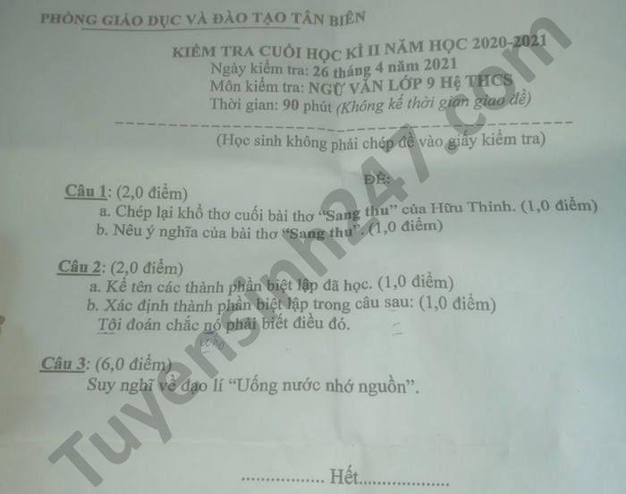 De thi hoc ki 2 mon Van lop 9 Phong GD Tan Bien nam 2021