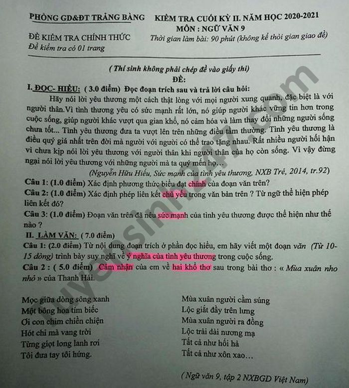 De thi hoc ki 2 mon Van lop 9 Phong GD Trang Bang nam 2021