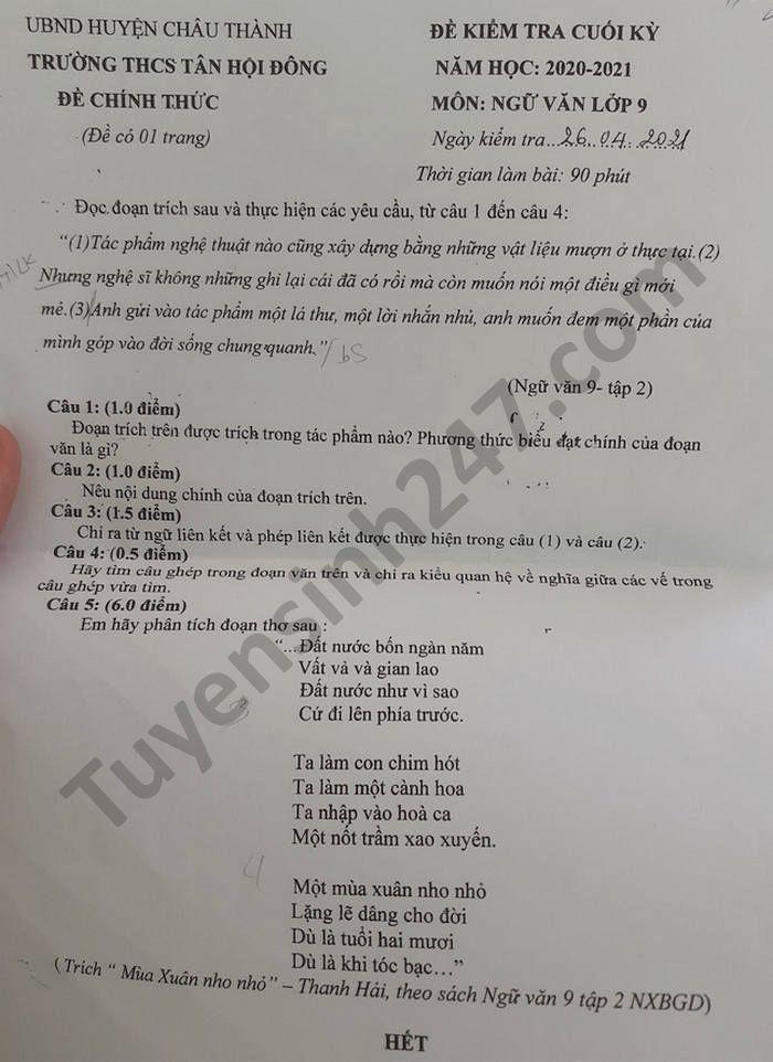 De thi hoc ki 2 mon Van  lop 9 nam 2021 THCS Tan Hoi Dong