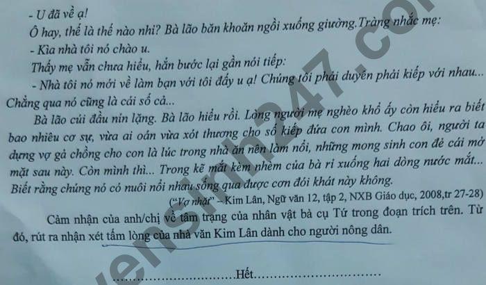 De thi hoc ki 2 lop 12 mon Van - So GD Binh Phuoc 2021