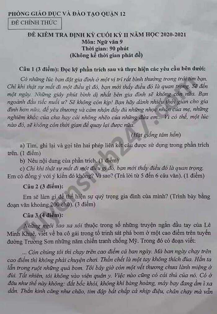 De thi hoc ki 2 - Phong GD Quan 12 mon Van lop 9 nam 2021