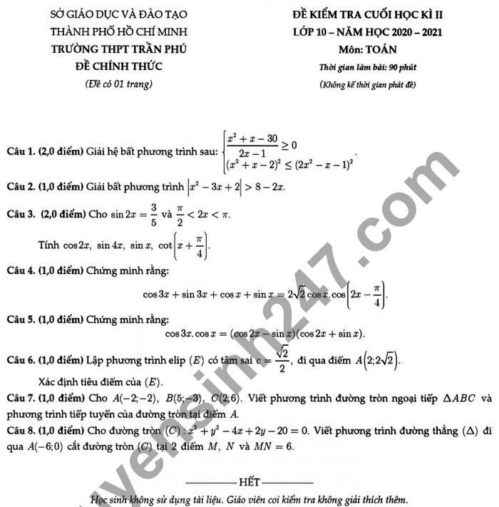 De thi hoc ki 2 lop 10 mon Toan - THPT Tran Phu 2021