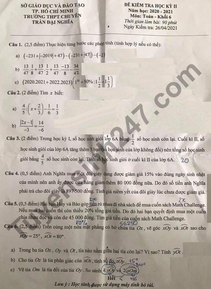 De thi hoc ki 2 mon Toan lop 6 nam 2021 - THPT Chuyen Tran Dai Nghia