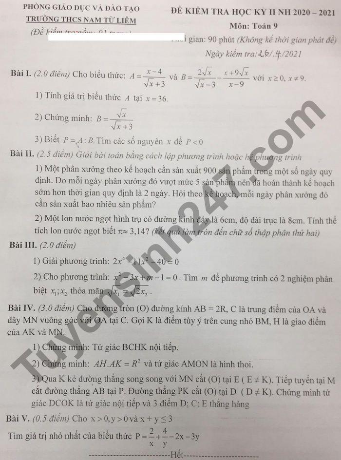 De thi hoc ki 2 mon Toan lop 9 - THCS Nam Tu Liem 2021